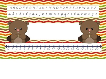 Forest Critters D'Nealian nametag with number line