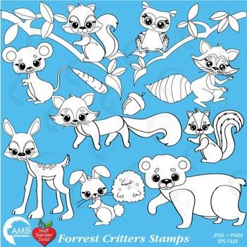 Clipart, Digital Stamps, Forest Critters Black line Outlines, AMB-440
