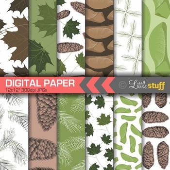 Forest Digital Paper, Trees, Leaves, Autumn, Fall, Nature, Pine Cones