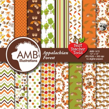 Forest Digital Papers, Fall Forest Animal Digital backgrounds, AMB-1415