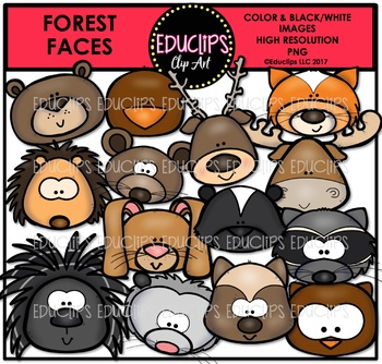 Forest Faces Clip Art Bundle {Educlips Clipart}