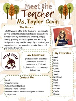 Forest/Fall Meet the Teacher Template Editable SPANISH AND ENGLISH