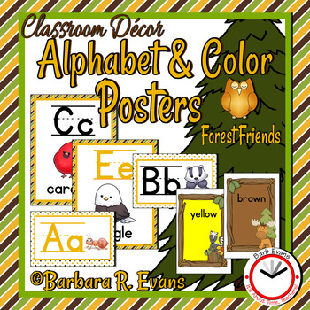 FOREST ANIMALS: Forest / Woodland Animal Alphabet & Color Posters, Decor