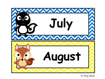 Forest Friends Calendar Header Cards