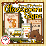 CLASSROOM MANAGEMENT Signs Procedures Editable Forest Camping Classroom Decor
