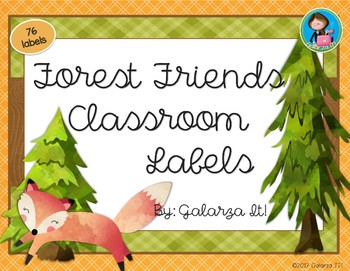 Forest Friends Classroom Supply lables Growing Set