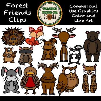Forest Friends Clip Art Collection-Color/Lineart- 13 pieces