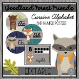 Forest Friends EDITABLE Classroom Cursive Alphabet and Number Posters