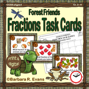 FRACTIONS TASK CARDS: Forest Friends Edition