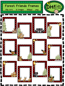 Forest Friends Frames - Clip Art Frames - Buffalo Check Frames
