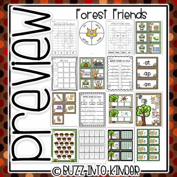 Forest Friends- Math ad Literacy Common Core Standards Included