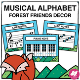 Forest Friends Music Classroom Decor:  Musical Alphabet, Lines & Spaces on Staff