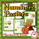 NUMBER POSTERS 0-20 Cardinal Ordinal Numbers Forest Camping Classroom Decor