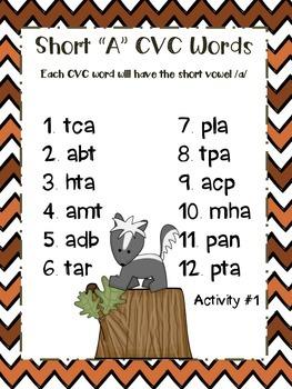 Forest Friends - Short Vowel/CVC Activities