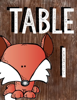 Forest Friends Table Numbers