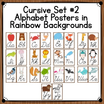 Forest Animals Themed Manuscript and Cursive Alphabet Posters