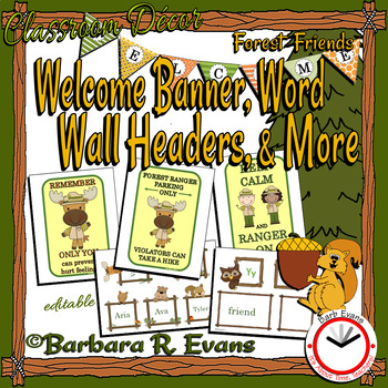 WELCOME BANNER & WORD WALL HEADERS: Forest / Woodlands / Camping Theme