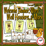 WELCOME BANNER and WORD WALL Forest Camping Theme Classroom Decor Literacy