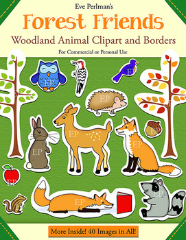 Forest Friends: Woodland Animals Clipart and Borders