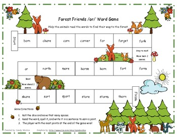 Forest Friends /or/ Word Game Literacy Station RF.1.3, RF.2.3