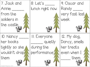 Irregular Past Tense Verb Activities Forest Fun