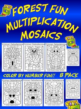 Forest Fun Multiplication Mosaics! 8 Pages of Fun! Color By Number