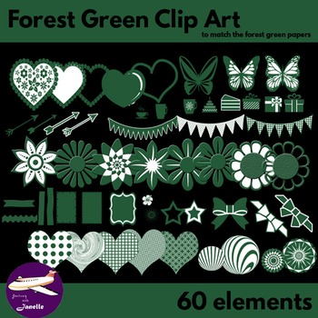 Forest Green Clip Art Decoration Scrapbooking Elements - 60 items