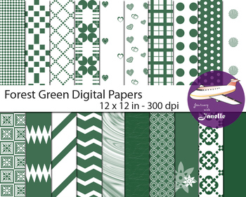 Forest Green Digital Papers for Backgrounds, Scrapbooking & Classroom Decoration