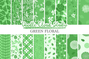 Forest Green Floral digital paper, Pine Green Floral patterns, Flowers, Dhalia.