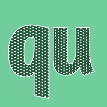 Forest Green Polka Dot Alphabet Clip Art + Numerals, Punctuation & Math Symbols