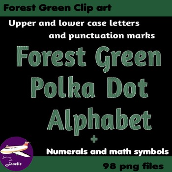 Forest Green Polka Dot Alphabet Clip Art + Numerals, Punctuation & Math Symbols