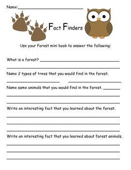 Forest Habitat Mini Book with Writing and Art Project
