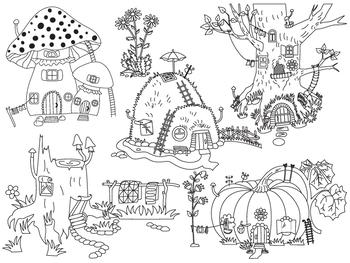 Forest Houses Clipart - Digital Vector Pumpkin, Mushroom, Tree, House Clip Art