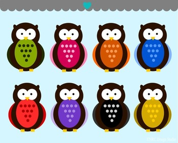 Woodland owls clipart commercial use