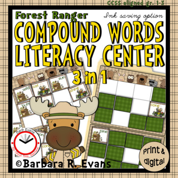 COMPOUND WORDS Literacy Center  Forest Animals  Compound Words Activities