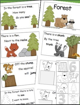 Forest Theme, Emergent Reader, Rhyme and Read, Cut and Paste, Forest Activities