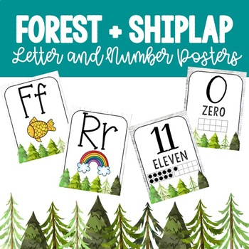 Forest + Shiplap Letter and Number Posters