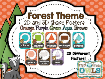 Forest Theme 2D and 3D Shape Posters (Orange, Purple, Blue, Green, Brown)