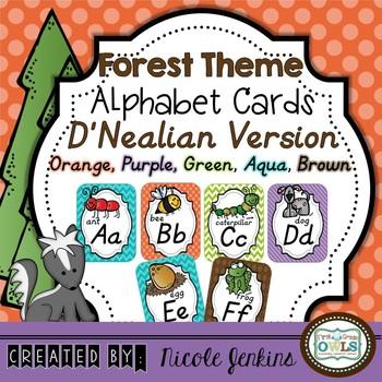 Forest Theme Alphabet Cards (Orange, Purple) D'NEALIAN VERSION