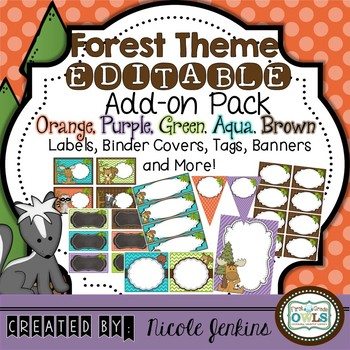 Forest Theme EDITABLE Add On Pack Orange and Purple