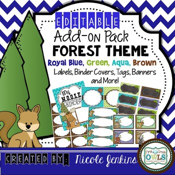 Forest Theme EDITABLE Add On Pack Royal Blue