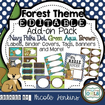 Forest Theme EDITABLE Add on Pack Navy Polka Dot