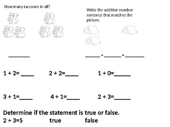 Forest Theme Grade 1 Addition Concepts