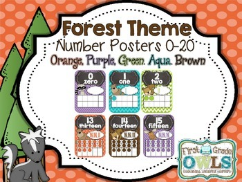 Forest Theme Number Posters 0-20 (orange, purple, blue, green, brown)