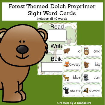 Forest Themed Dolch Sight Words & Nouns Cards Bundle