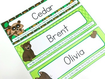 Forest Themed Name Tags for Desks