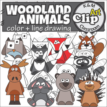 Forest Woodland Animal Color and Line Art Clip Art
