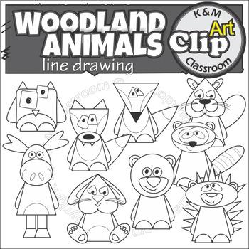 Forest Woodland Animal Line Art Clip Art