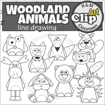 Forest Woodland Animal Line Art Clip Art