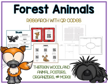 Forest Woodland - Animal Research w QR Codes, Posters, Organizer - 15 Pack